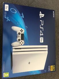 PS4 Pro Glacial White 1TB + Games, 2 controllers, Docking, cooling and charging station. NEW