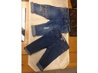 Baby girls designer Zara jeans 2 pairs 3-6m
