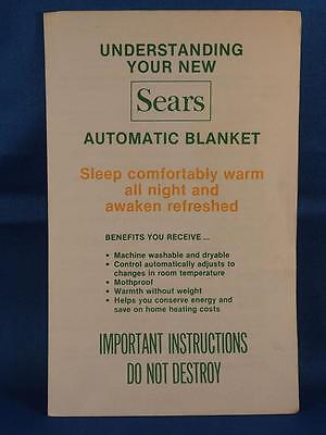 Vintage Sears Automatic Blanket Instruction Manual