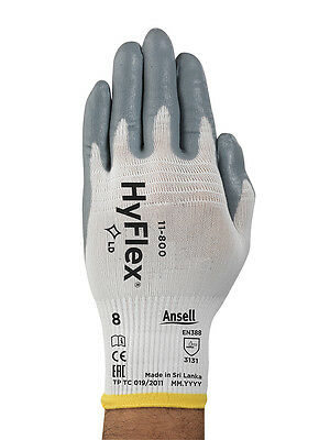Ansell 11-800 Hyflex Nitrile Palm Coated Gloves Size 8-med 12 Pr1 Dz Free Ship