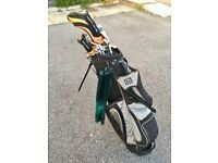 Set of irons, 3 wood, driver, fairway wood, putter, bag + loads of balls and tees!