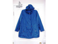 Two David Emanuel lightweight raincoats size 22, blue and gold