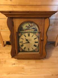 Antique style pine clock + key holder