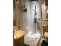 Complete en-suite bathroom inc shower tray 1200 x 800, glass panels, Myra mixer wash basin and we.