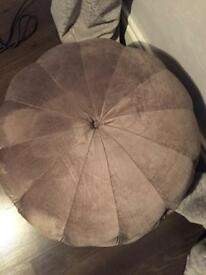 Silver/Pewter Buttoned Pouffe Stool NEXT
