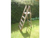 Old Vintage Antique Pine Industrial Paint Splattered Small Step Ladder