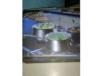 Brand new stainless steel cooking pans in box