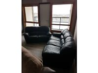 3and2 black leather sofas 100 pound ono