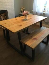 Reclaimed industrial wooden dining table and bench set
