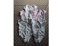 10 baby girls short sleeved bodysuits