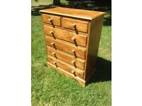 Large pine chest of drawers with bedside cabinet, quality items.