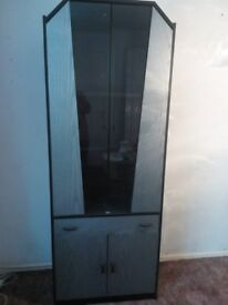 Display Cabinet, Lounge, Black and Grey with Glass, very good condition