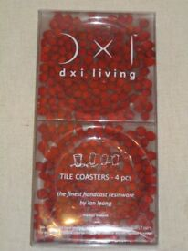 Set of 4x (Christmas) Red Berry/Berries Handcast Resinware Coasters by Ian Leong (Thailand)