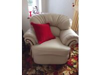 Leather three piece suite, cream colour, new- excellent condition
