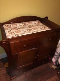 Nursery set. Sleigh bed wardrobe changer shelf and toy box