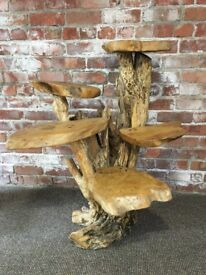 Coffee Wood Display / Plant Stand 5 Tier - 2 available