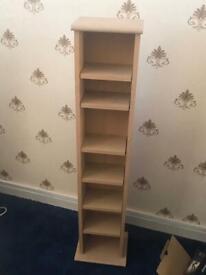Oak book shelf/cd dvd holder
