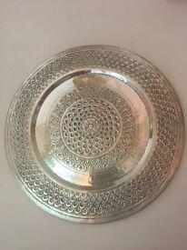 Beautiful decorative silver wall plate