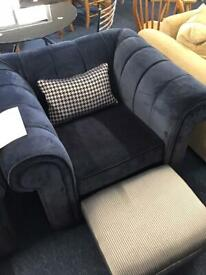 Suede Armchairs with matching cushions and footstools