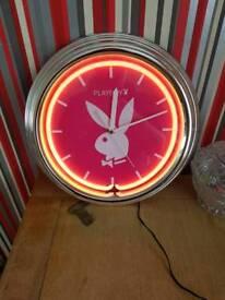 Neon pink light up playboy clock