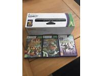 XBox 360 Kinect and three games