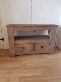 Wooden TV stand with 2 drawers