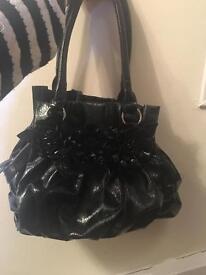 Vintage green/ black handbag with flowers