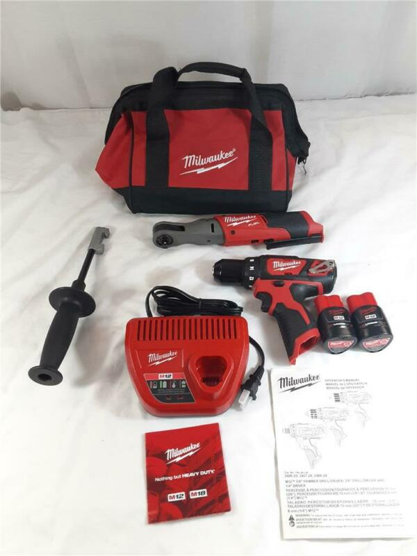 "Milwaukee 2557-20 3/8"" Ratchet 2407-20 3/8"" Drill/Driver W/ 2 Batteries, Charger"