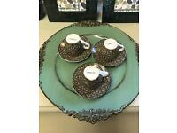 Set of 3 expresso coffee cups & saucers