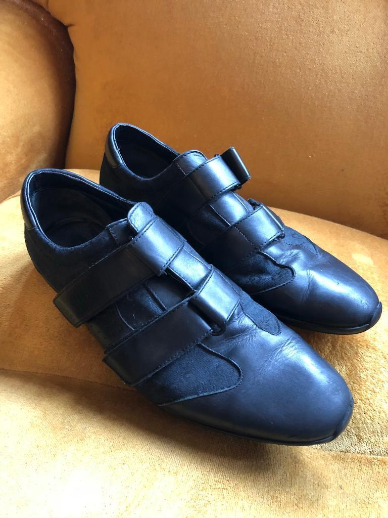 Genuine Gucci black leather trainers shoes UK 8.5