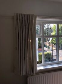 Pair of cream bespoke pinch pleat curtains - fully lined