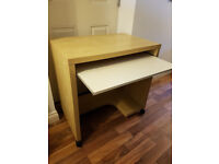 Computer desk, with keyboard tray and on wheels