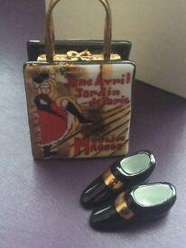 Limoges limited edition 'Moulin Rouge Handbag' Trinket Box