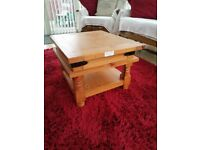 REDUCED - heavy solid real genuine wood expensive(RRP £199.99) 'shabby chic' coffee table with shelf