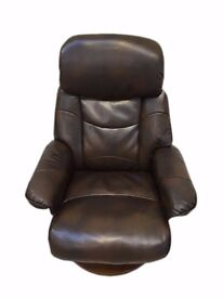 Brown Leather Chair With Matching Foot Rest