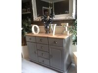 Gorgeous Timeless Grey Country Chic Natural Top Sideboard