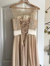 Long chiffon champagne evening prom bridesmaid dress size 8