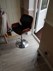 Wood Bar Stool with black seat