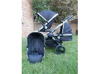Icandy peach 3 Double buggy stroller pram With Carrycot Black Magic i candy