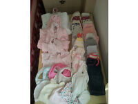 Bundle girls clothes 0-6 month and moses basket
