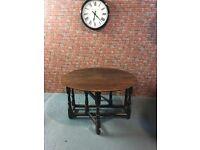 19th Century country oak gate leg drop leaf dining table