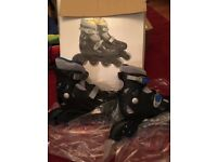 Helmet and Brand new roller blades adjustable size