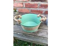 Metal Bucket Planter Storage Metal Bucket Sage Colour Rust Free
