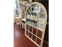 Last few NEW LARGE 4.5ft arched cream or grey window mirror ONLY £109