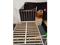 Cream Double Metal Bed Frame