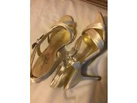 Ladies sandles size 7/8 one black wedge one champagne colour