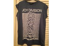 Joy Division T-Shirt, light blue with cropped sleeves, size 14, new.