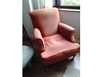 Vintage fireside chair, good solid construction.