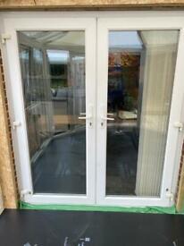 """UPVC FRENCH DOORS WHITE inc Frame 6ft(w)x6ft 10""""(h)"""
