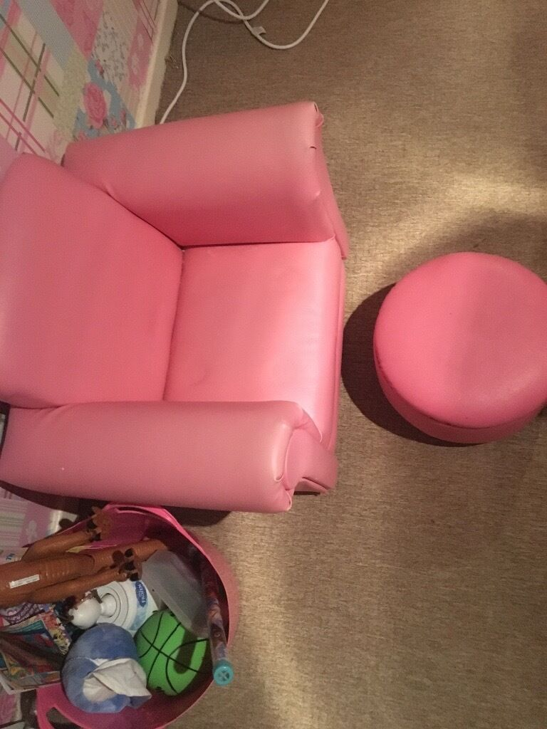 Girls pink rocking chair and footstool leather.